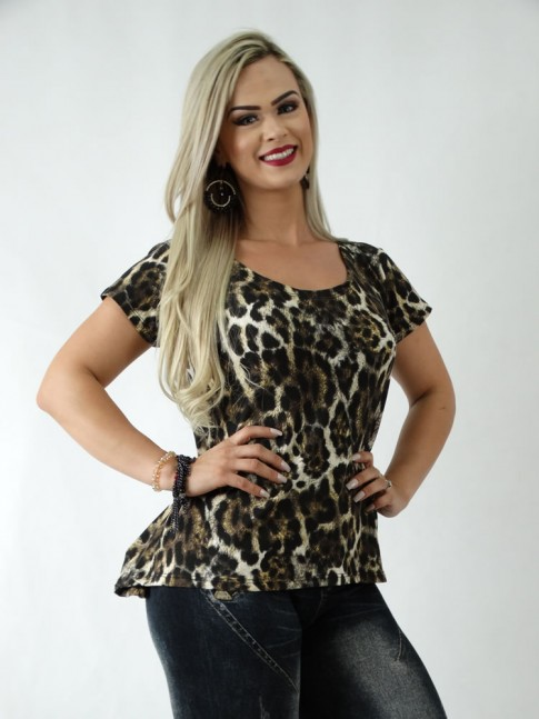 T-Shirt em Viscolycra Animal Print Leopardo [1904059]