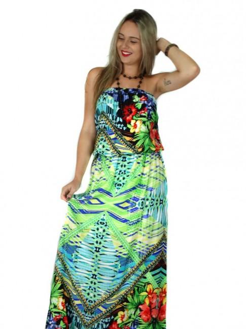 Vestido de viscose longo tomara-que-caia estampa floral tropical