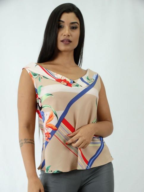 Blusa em Viscose Decote Canoa com Colarinho Bege Flores [X812125&91;