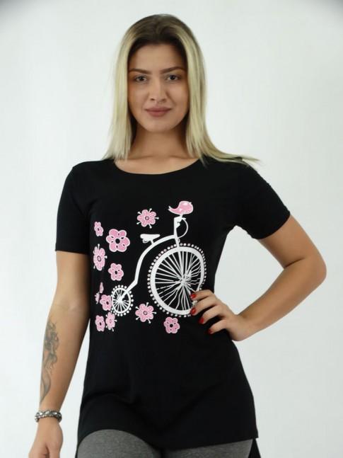 T-shirt Mullet com Fenda Viscolycra Bike Vintage Flores