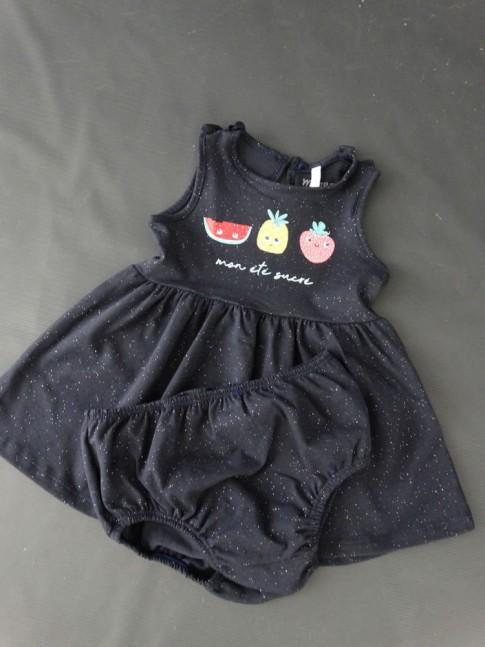 Vestido Infantil + Calcinha em Meia Malha Estampa Frutas Azul Marinho Glitter [2008201]