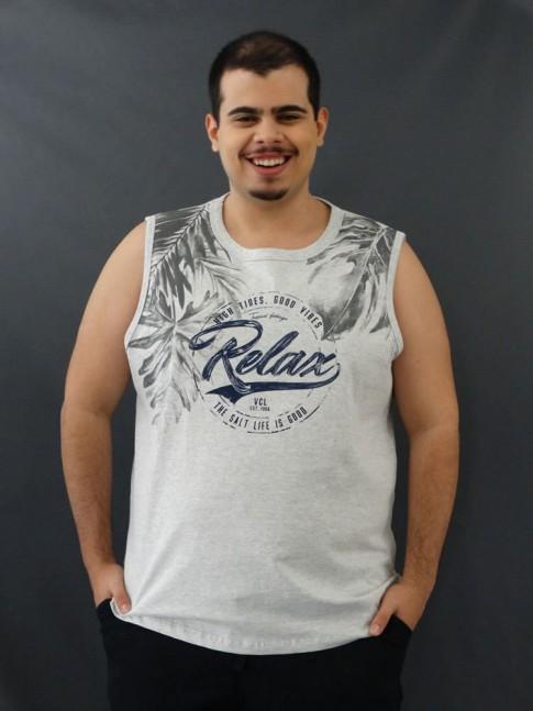Camiseta Masculina Regata Folhas Relax Cinza Claro Plus Size [2010037]