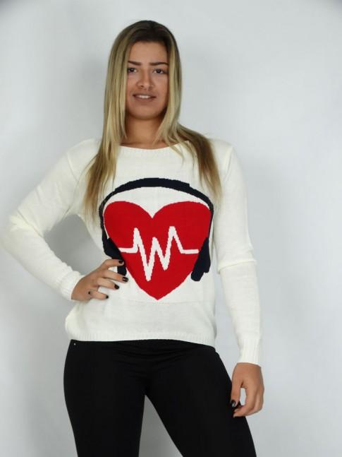 200-Blusa em Tricot Estampa Escutando a Frequência do Coração