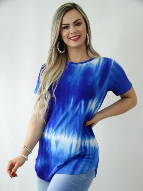 T-Shirt em Viscolycra Sobre Legging Tie Dye Azul Caneta [1909055]