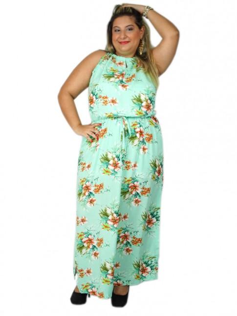 Vestido de viscose longo com fenda lateral plus size estampa floral clara
