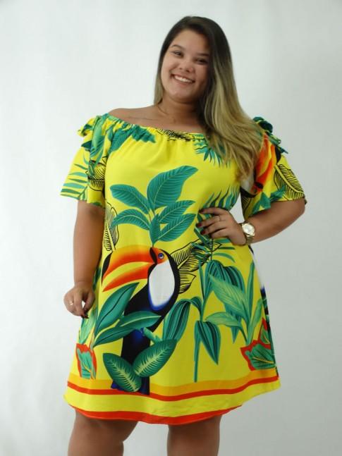 Vestido em Viscose Ciganinha Plus Size Amarelo Tucano Flores [1812181&91;