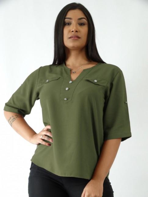 Blusa em Viscose Decote V com Botões Verde Militar [1908002]