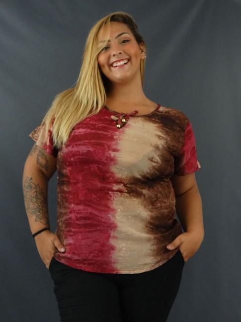 Blusa em Crepe Decote V com Bordado Tie Dye Plus Size Marrom e Roxo [2103001]