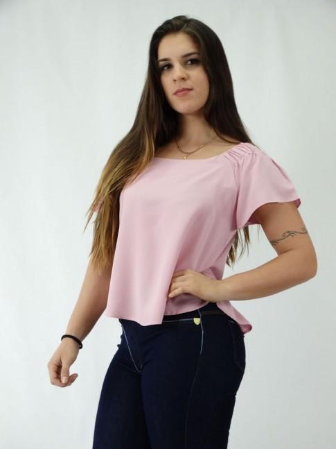 Blusa em Viscose modelo Ciganinha Rosa Claro