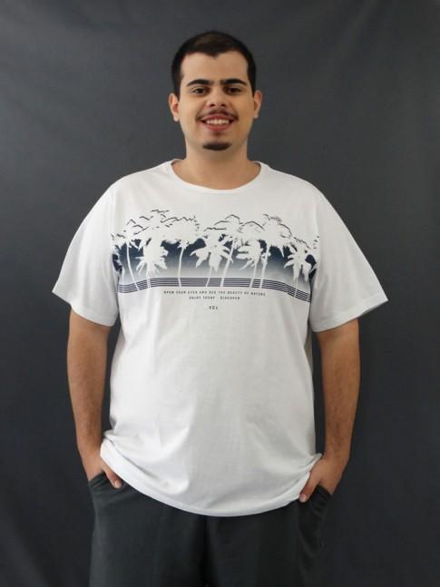 T-shirt Masculina Estampada Coqueiros Branco Plus Size [2010023]