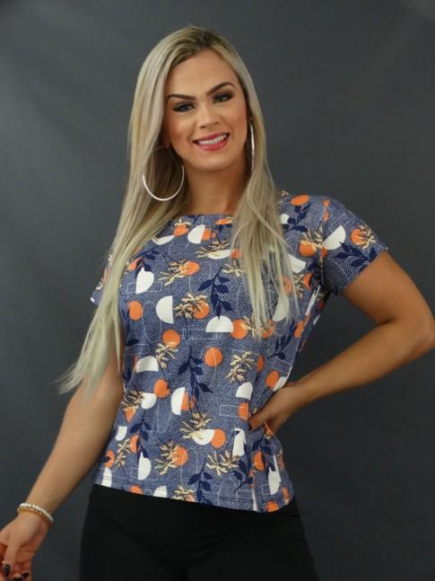 Blusa T-shirt Estampada em Viscolycra Azul Geométrico Folhas [2103135]