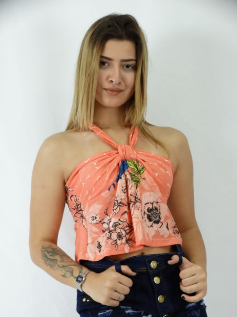 Blusa Cropped em Viscolycra No no Busto Estampa Laranja Flora Flores