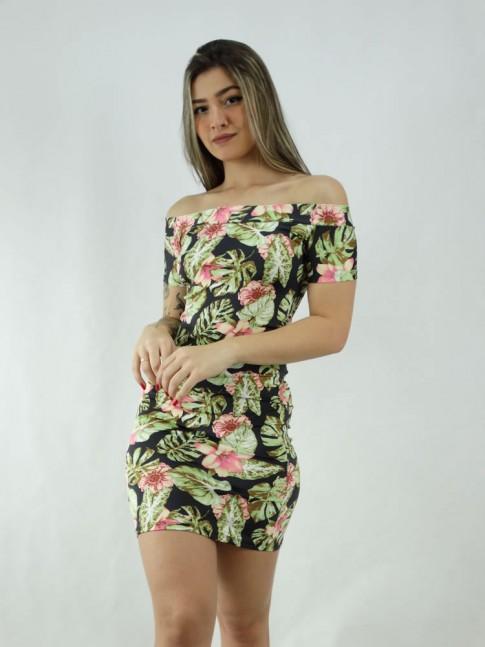 Vestido em Suplex com Manguinha Ombro a Ombro Preto Folhas Verdes Flores Rosas [2006018]