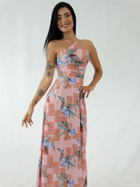 Vestido Longo em Viscose Frente Única Rose Flores Geométrico [1911029]