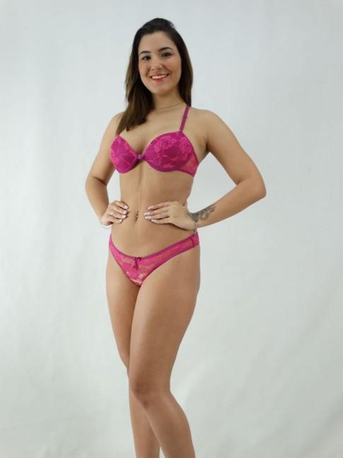 Conjunto Sutiã Nadador + Calcinha Renda Flor Violeta e Rosa [2008103]