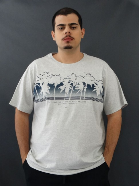 T-shirt Masculina Estampada Coqueiros Cinza Claro Plus Size [2010024]