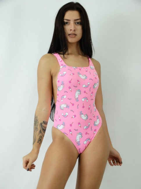 Body em Meryl Regatao estilo Suspensorio Rosa Unicornio Colors