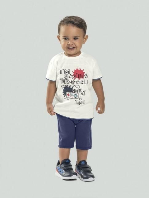 Conjunto Infantil Masculino T-Shirt Estampada + Short Com Cadarco Off White e Azul Marinho [2008212]
