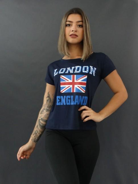 Blusa Baby Look Estampada em Viscolycra London Azul Marinho [2009132]