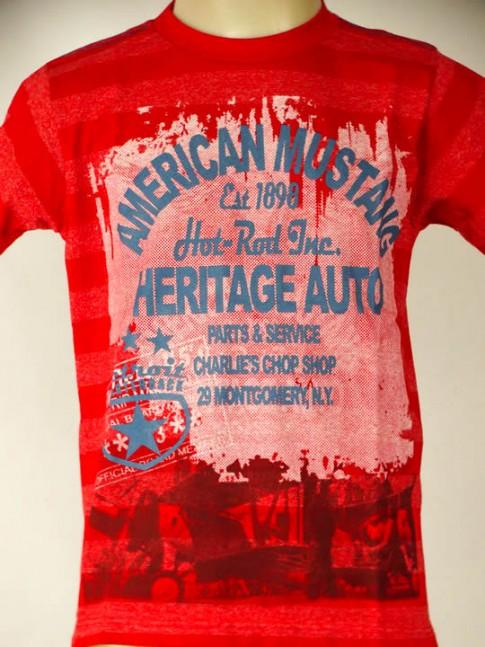T-shirt infantil vermelha com estampa american mustang
