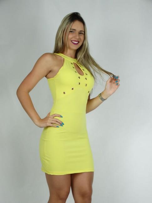 100 - Vestido em Suplex Inteiro Decote Gota com Ilhos Liso