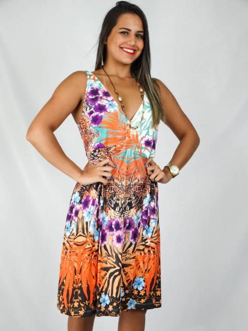 Vestido visco babado com fivela nas costas estampa floral tropical