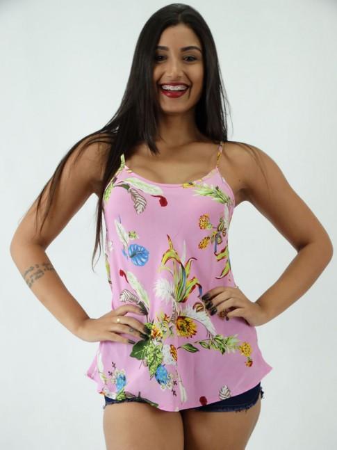 Blusa em Viscose com Alcinha Estampada Rosa com Flores