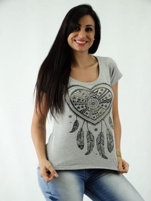 T-shirt em Viscolycra Mullet Estampa Coracao Filtro dos Sonhos