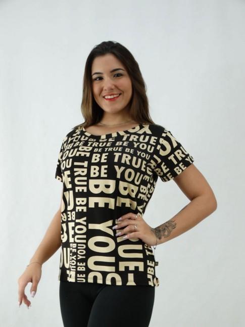T-Shirt Estampada em Viscolycra Be you Preto [2008065]