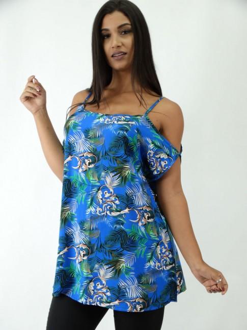 Blusa em Viscose Manguinha com Abertura Azul Folhas