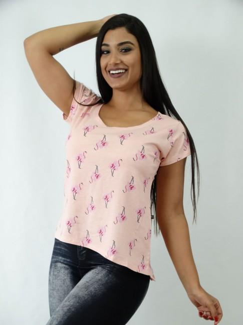 T-shirt em Viscolycra Estilo Mullet Rosa Flores [1812079]