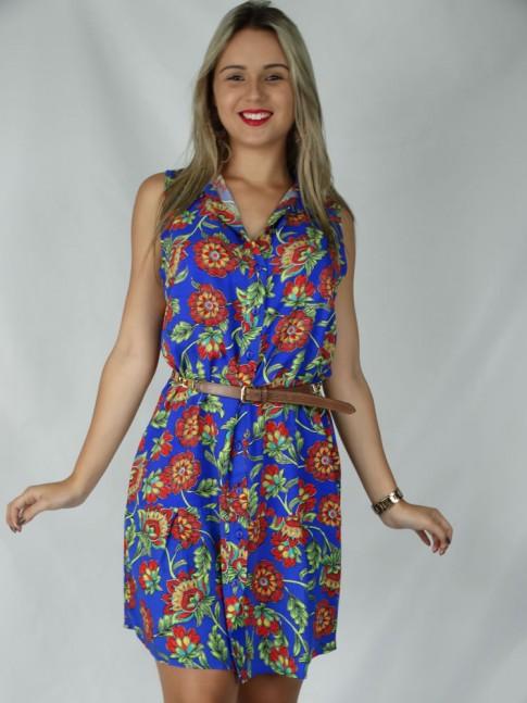 Vestido de viscose com prega na barra estampa floral azul
