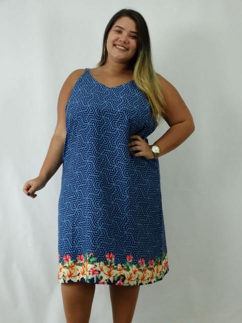 Vestido em Viscose Decote V Alca Larga Plus Size Azul Etnico [1902121]