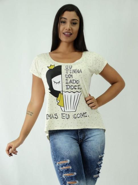 T-shirt em Viscolycra Mullet Estampa Eu Tinha um Lado Doce