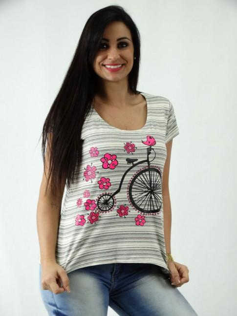 T-shirt em Viscolycra Mullet Estampa Bike Vintage Flores Listrada Bege