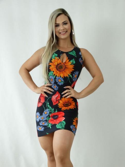 Vestido em Suplex Decote Gota Preto Flores Colors [1903081]