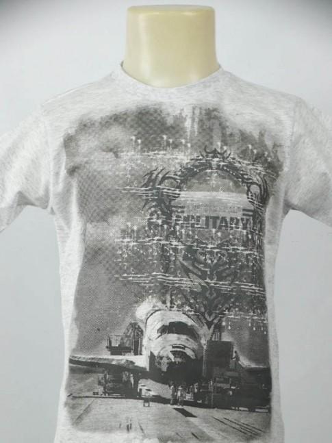 T-shirt infantil gola careca cinza com estampa avião