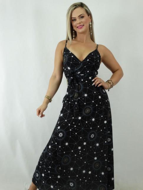 Vestido Envelope em Viscose Estampado Constelacao [1902083&91;