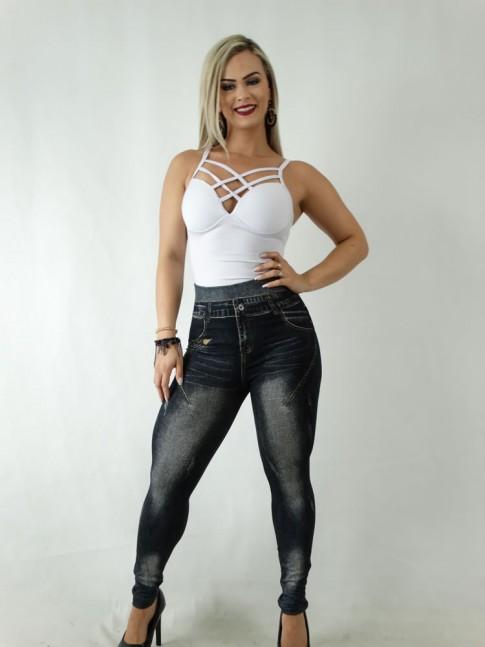 Calça Legging Jeans Fake Preto [1904090]