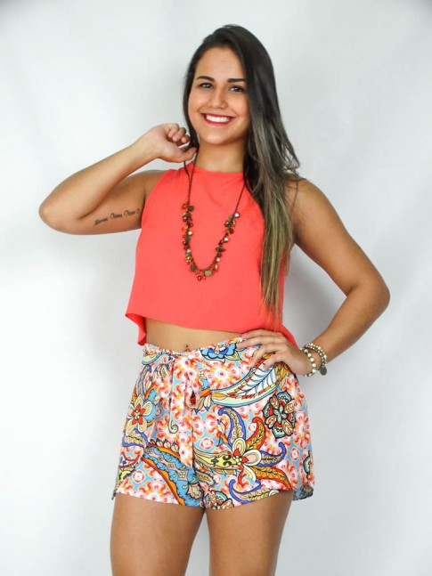Short-saia de viscose com forro estampa floral color