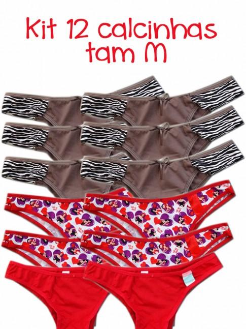 Kit com 12 calcinhas tam M modelo e cor sortida