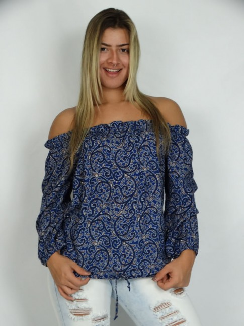 200 - Blusa em Vicose Ciganinha Manga Comprida Estampa Indiana Azul