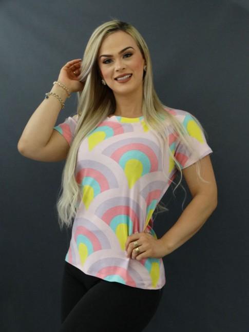 T-shirt Estampada em Viscolycra Rosa e Lilás Leque [2011064]