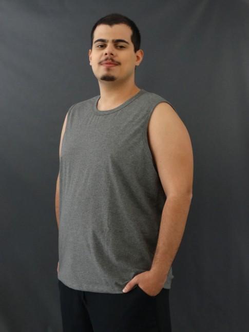 Camiseta Masculina Regata Machão Basic Plus Size Cinza [2010129]