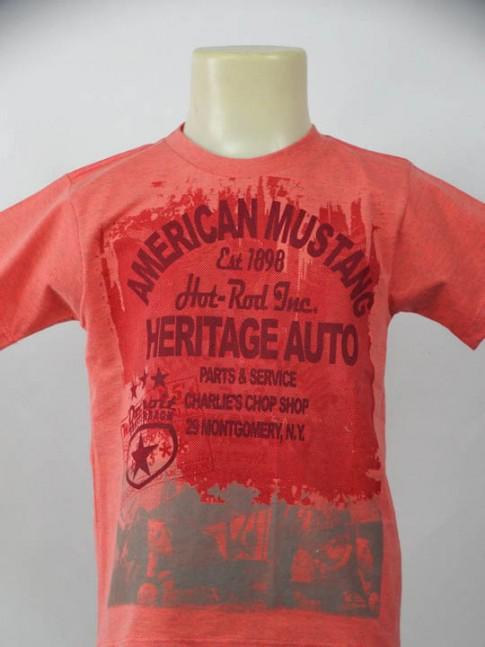 T-shirt infantil gola careca salmão com estampa american