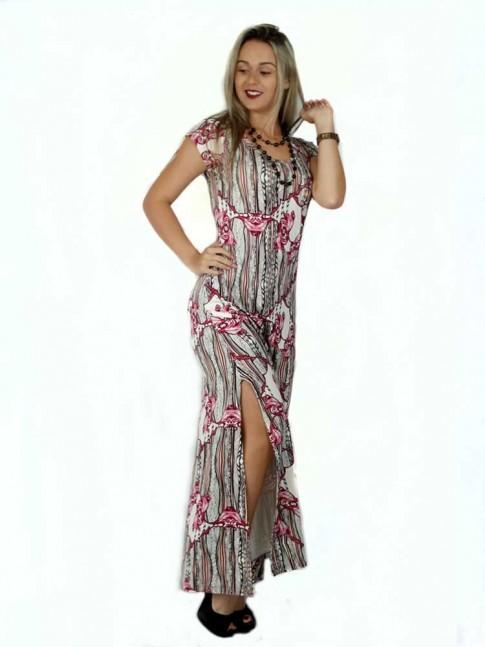 314 -  Vestido Longo com Fenda em Visco com Estampa Etnica com Flores 632