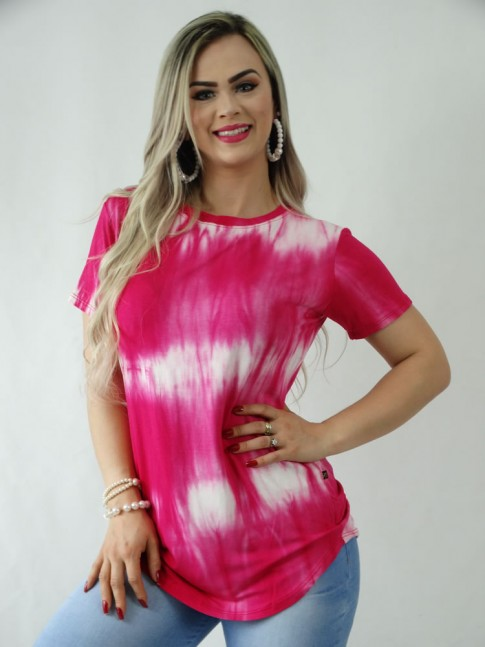 T-Shirt em Viscolycra Sobre Legging Tie Dye Rosa Pink [1909056]