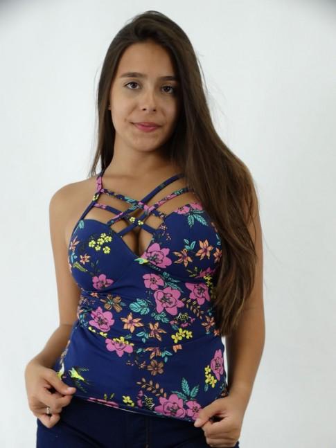 Blusa em Suplex Tiras Trancadas Azul Marinho Flores Coloridas