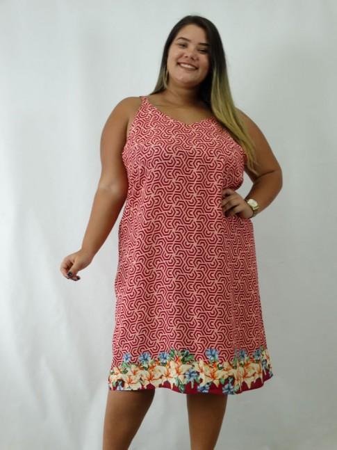 Vestido em Viscose Decote V Alca Larga Plus Size Vermelho Etnico [1902120]