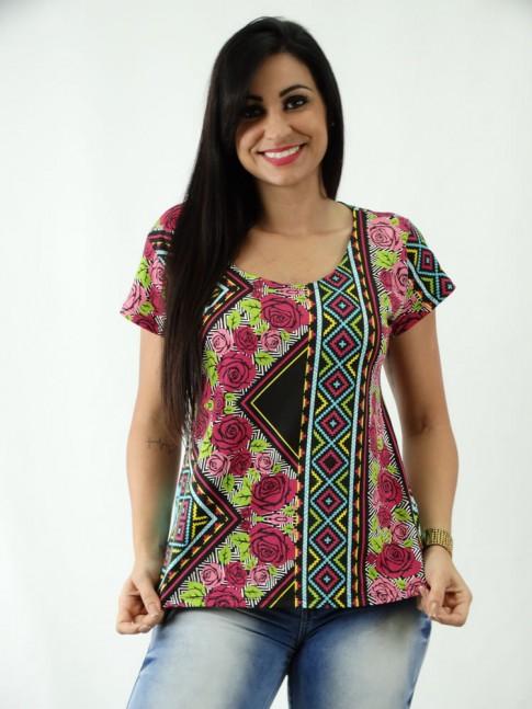 T-shirt em Viscolycra Mullet Estampa Etnica Colors